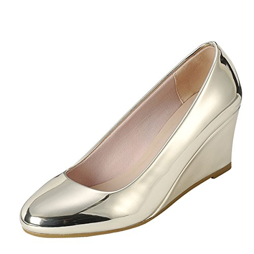 Forever Womens Round Closed Toe Metallic Slide Slip on Med Low Wedge Heel Pump Shoe 7 Gold 4Qcfq