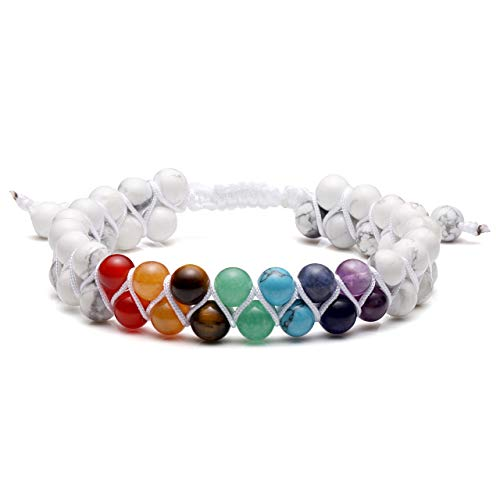 Jovivi Men Women 6mm Double Layer Natural Energy Healing Stone White Turquoise Yoga Beads Bracelets Adjustable Braided Rope for Couples