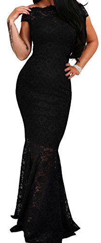 YeeATZ Women's Elegant Black Bardot Lace Fishtail Maxi Party Dress
