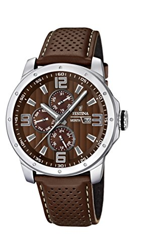 Festina Men's Quartz Watch Sport Multifunktion F16585/A with Leather Strap