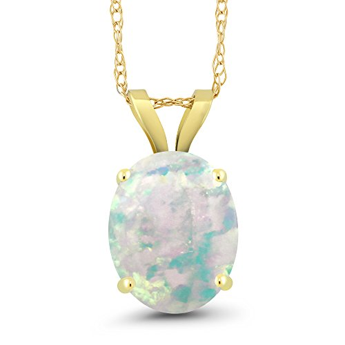 Gem Stone King 1.50 Ct Oval Cabochon White Simulated Opal 14K Yellow Gold Pendant With Chain