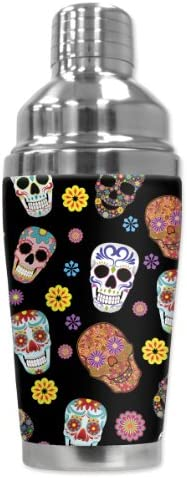 Mugzie 949-SHA Sugar Skull Toss Cocktail Shaker with Insulated Wetsuit Cover, 16 oz, Black