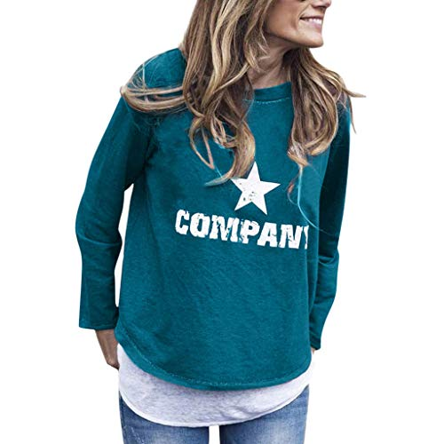 LUCAMORE Women's Casual Printed Long Sleeve Pullover Blouse Round Neck Tunic T Shirt Tops Sweatshirt Green (Top 5 Hip Hop Artists Of All Time)