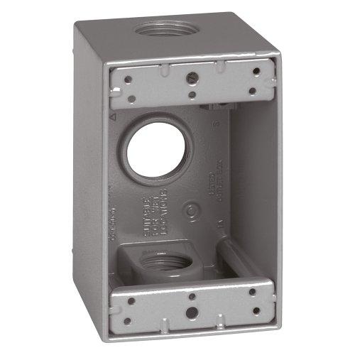 Sigma Electric 14256 3/4-Inch 3 Hole 1-Gang Deep Box, Grey
