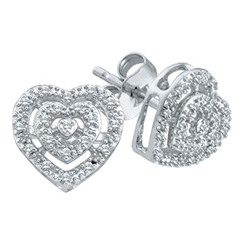 Shaped Heart Round Diamond Earrings - The Diamond Deal 10kt White Gold Womens Round Diamond Heart Cluster Screwback Earrings 1/12 Cttw