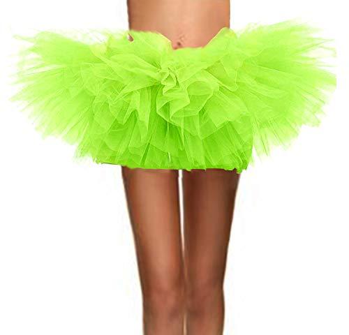 (ASSN Women's Classic 80s Mini Puffy Tutu Halloween Run Bubble Ballet Skirt 6-Layered Fluorescent-Green)