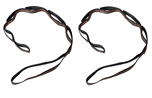 Tofern 2Pcs Daisy Chain Extension Strap Adjustable Loops Straps Rope Carabiner Storage Bag Tree Yoga Swing/Sling/Trapeze/Aerial Hammock/Climbing/Camping/Ceiling Anchor, Black/Orange 1 Meter
