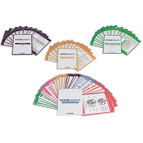 ScrubCheats Kit 130 Heavy Duty Laminated Nursing Reference Cards by NRSNG (4X6 Fits in Scrub Pocket) (MedSurg, Critical Care, Pharmacology, OB/Peds, Respiratory, Cardiac) Waterproof, Splash Proof