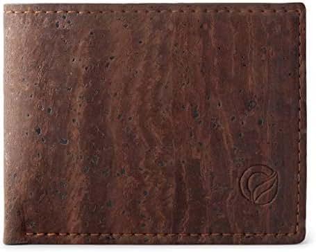 Corkor Cork Wallet for Men   Vegan Cruelty Free Non Leather   Bifold Cards Cash Brown Color