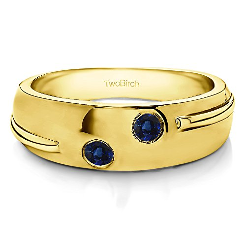 - 14k Yellow Gold Gent's Ring Sapphire(0.24Ct) Size 3 To 15 in 1/4 Size Intervals