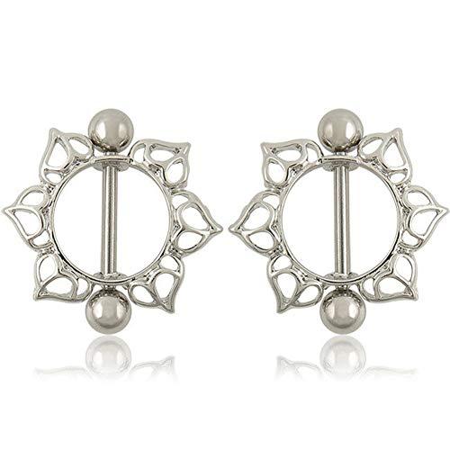(qsbai Women Lady Fashion Nipple Ring Sunflower Heart Tongue Bar Rings Body Piercing Jewelry 1pair Sunflower)