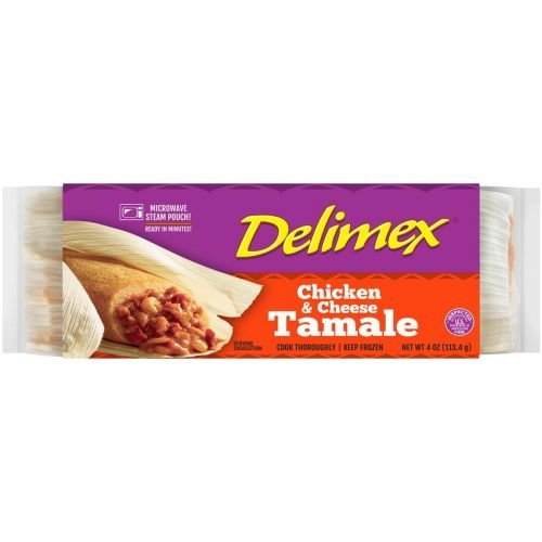 Delimex Single Wrap Chicken and Cheese Tamale, 4 Ounce -- 20 per case.