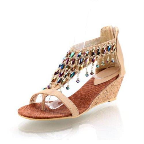 Nieuwe Zomer Mode Handgemaakte Kralen Wig Hakken Teenslippers Sandalen Schoenen Abrikoos