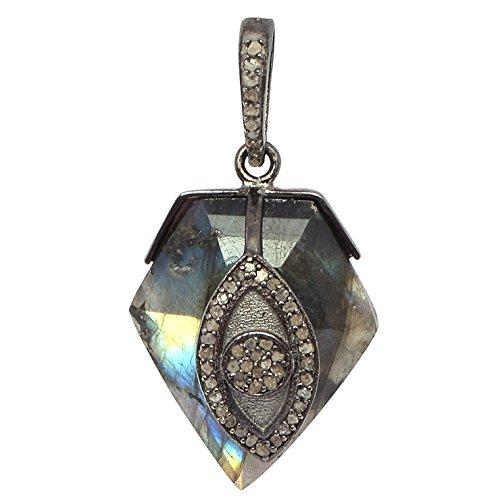 - Shine Jewel Pentagon Labradorite Gemstone With Champagne Diamond 92.5 Sterling Silver Pendant