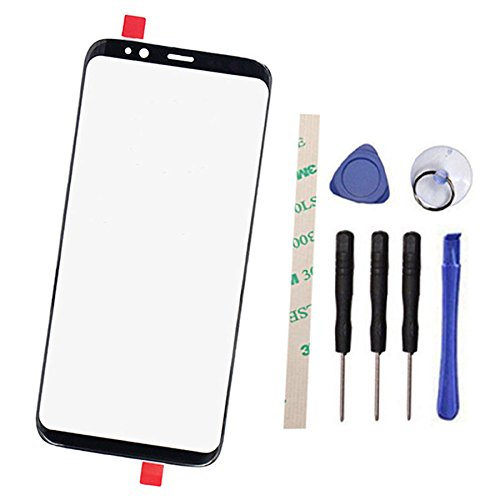 Outer Screen Front Glass Lens Replacement for Galaxy S8 Plus SM-G9 G9550 6.2 inch (Not LCD and Not digitizer) with Adhesive Preinstalled