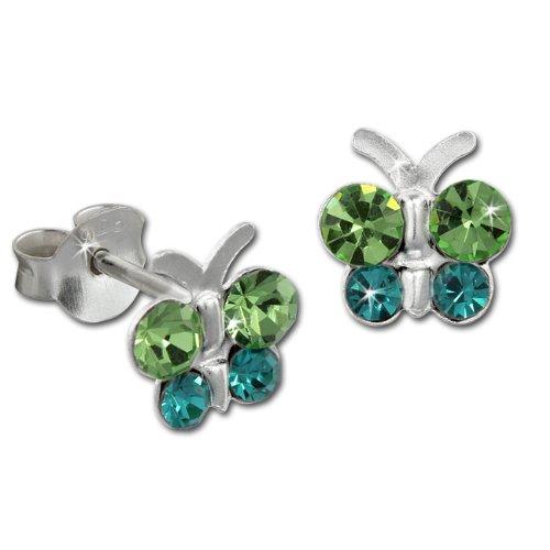 Teenie-Weenie Boucles d'oreilles - boucles d'oreilles papillon vert - argent sterling 925 pour enfants - SDO8014G