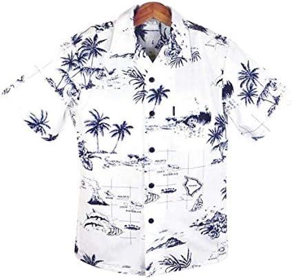 メンズアロハシャツ ホワイト/ヤシ/ハワイ諸島柄 コットン 白 大きいサイズ有 Palmwave