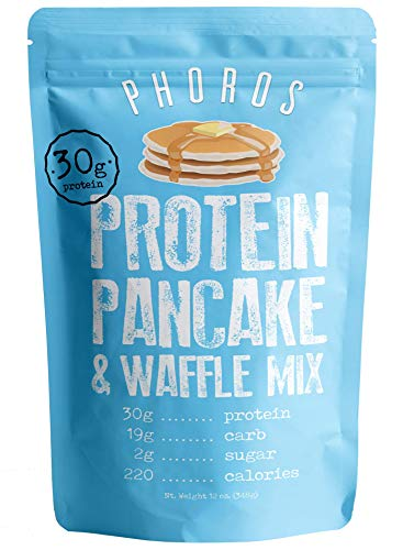 Protein Pancake Waffle Mix by Phoros Nutrition, Low Carb, High Protein, Low Glycemic, Keto-Friendly, Just Add Water Original