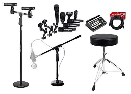 Audio Technica PRO-DRUM7 Drum Microphone Kit w/(7) Mics+Stands+Cables+Mixer+Seat