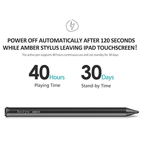 iPad Stylus Pen,Active Capacitive Digital Pens Supporting 40-Hour Playing Time 30-Day Stand 120-second Auto Power Off 3 Replaceable Fine Point Rubber Tips Touchscreen Styli iPad by Heiyo (Image #3)