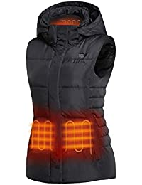 Women's Heated Vest with 90% Down Insulation and Detachable Hood (Battery Included)