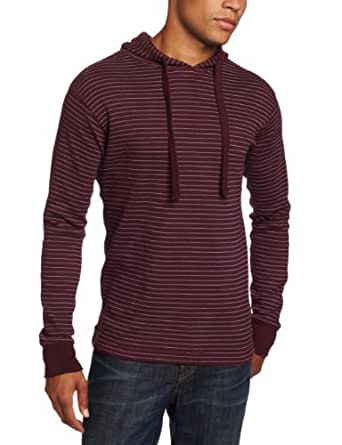 Modern Culture Men's Thermal Hooded Pullover With Printed Stripe, Maroon, Small