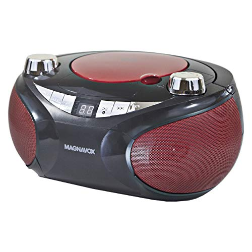 Magnavox MD6949 Portable Top Loading CD Boombox with AM/FM Stereo Radio and Bluetooth Wireless Technology in Red and…