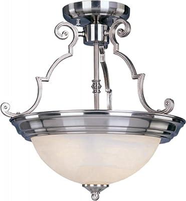 Maxim Lighting 5843MRSN Two Light Marble Glass Bowl Semi-Flush Mount, Satin Nickel