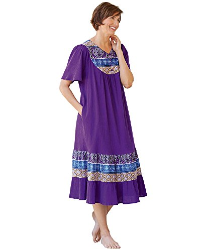(National Santa Fe Border Print Dress, Amethyst, Large)