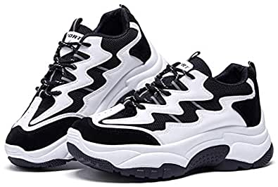 BOYATU Chunky Sneakers for Women Sports Walking Shoes Lightweight Leather Trainers Black Size: 5.5