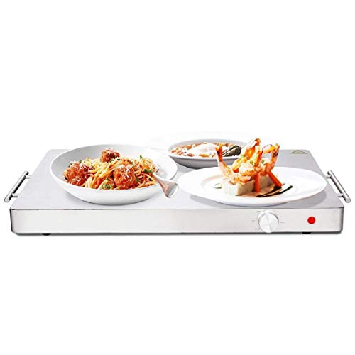 (Electric Warming Tray Hot Plate Food Warmer Temperature Control New Stainless Steel)