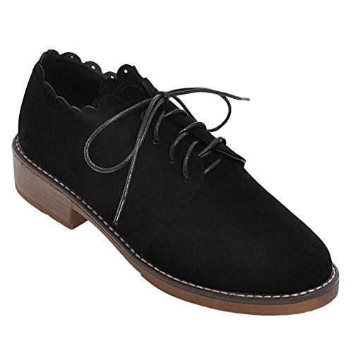 Carolbar Womens Lace Up Decorative Border Casual Low Heel Oxfords Shoes Black 1TggNEuLdR