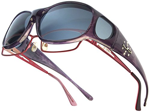 Fitovers Eyewear Element Sunglasses with Swarovski Elements on Temples (Purple Haze, Gray)