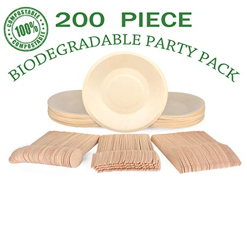 Compostable Disposable Plates - 200 Piece: 50 Eco Friendly Paper Plates, 50 Forks, 50 Spoons & 50 Knives | Bulk Biodegradable Plate and Utensil Set | Party Dinnerware | By Little Footprint