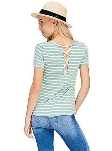Shopglamla Stripe Round Neck Eyelet Shoe Lace Up Back Short Sleeves Top Blouse Mint L ()