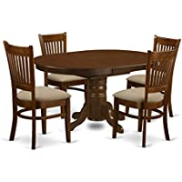 East West Furniture KEVA5-ESP-C 5 Piece Set Kenley Kitchen Table With One 18 Leaf And Four Upholstered Seat Chairs In Espresso