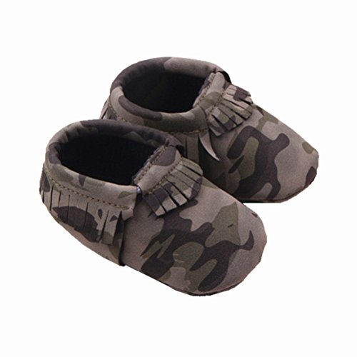 Zerowin Baby Toddler Warm Shoes Pu Leather Tassels Camouflage Prewalker Winter Boots Soft Crib Shoes (6-12 Months, Army green)](Camo Baby Furniture)