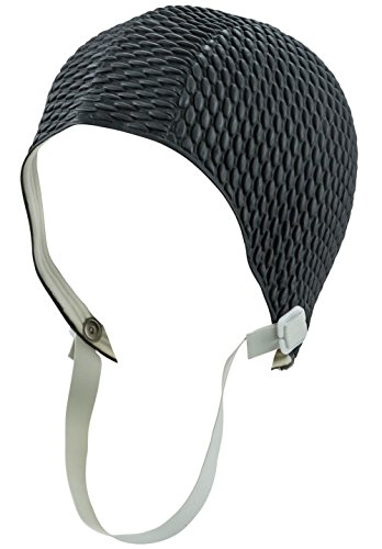 Retro Bubble Crepe Swim Bathing Cap with Chin Strap - - Cap Swim Strap With