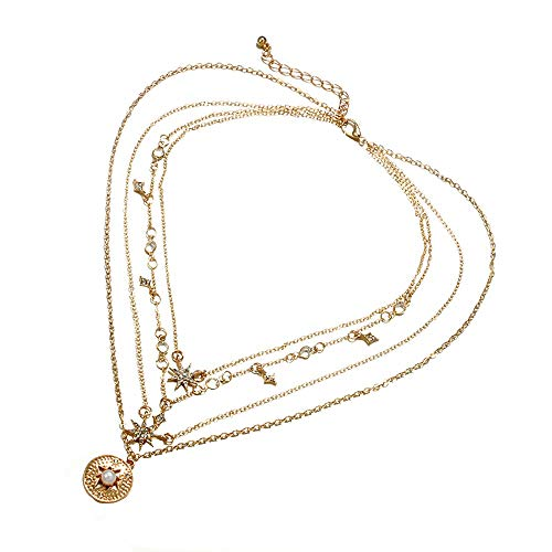 (Female Accessories Diamond-Shaped Six-Pointed Star Diamond Necklace Geometric Multi-Layer Pearl Clavicle Chain )