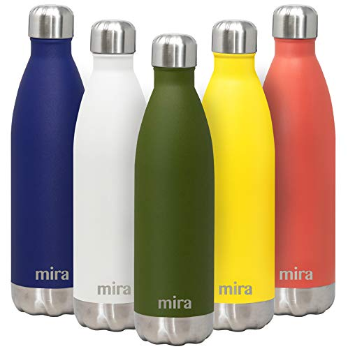 MIRA 25 Oz Stainless Steel Water Bottle | Double Walled Vacuum Insulated Cola Shape Thermos Flask | 24 Hours Cold, 12 Hours Hot | Reusable Metal Water Bottle | Leak-Proof ()
