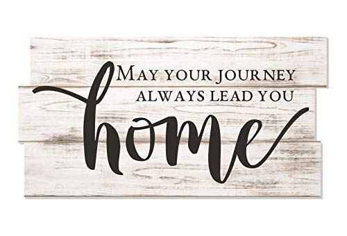 May Your Journey Always Lead You Home Staggered Plank Rustic Wood Sign 8x16