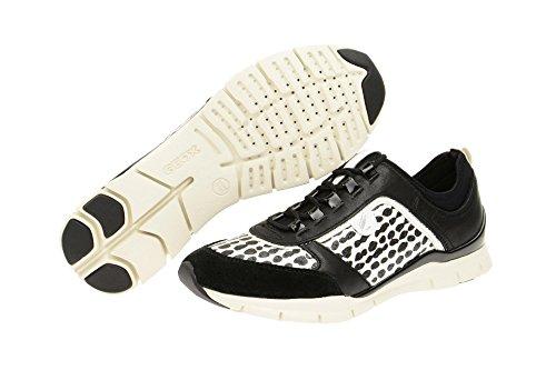 Geox c0504black Noir Schwarz Femme Baskets white Basses B Sukie SqxUpSR