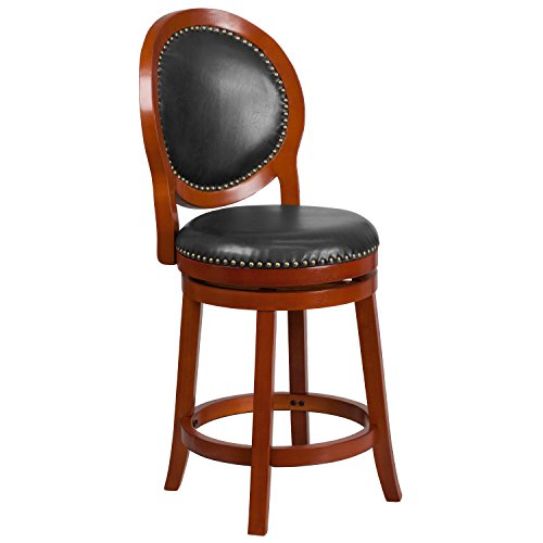 Flash Furniture 26'' High Light Cherry Counter Height Wood Stool with Walnut Leather Swivel Seat