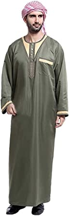 Ropa Étnica Hombre Musulmanes Árabe Arabia Túnica Modernas Casual Islámica Kaftanarabism Camisa De Manga Larga De La Camisa Adelgazan La Capa ...