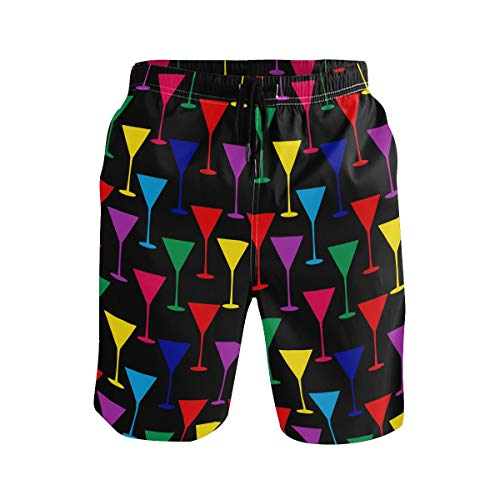 (LX-LINK Mens Color Martini Glass Surf Beach Shorts Swim-Trunks Quick Dry Board Shorts with Pocket)