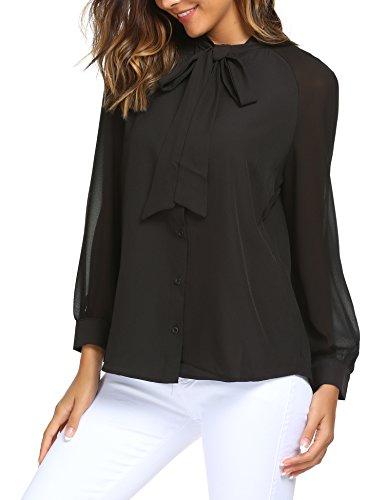 ACEVOG Womens Bow Tie Neck Long Sleeve Shirt Blouse Tops, 2black, Small