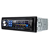 Masione 12V Bluetooth Car Stereo Audio Receiver with USB Port, SD Card Slot, AUX Receiver and Remote Control