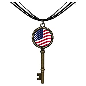 Chicforest Bronze Retro Style United States flag Jewelry Vintage Key Pendant