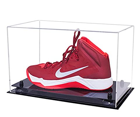 Deluxe Clear Acrylic Large Shoe Display Case with UV Protection for Basketball Shoes, Soccer Cleats, Football Cleats and More - Large Display Case