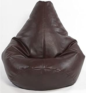 Kids Brown Highback Gaming Beanbag Faux Leather Bean Bag Chair